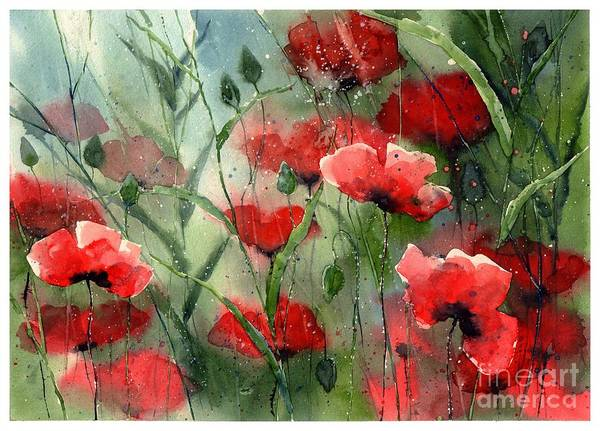Florida Beach Painting - Everything About Poppies by Suzann Sines