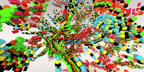 Wall Art - Photograph - Exploding Multi Colored Geometric Shapes by Ikon Images
