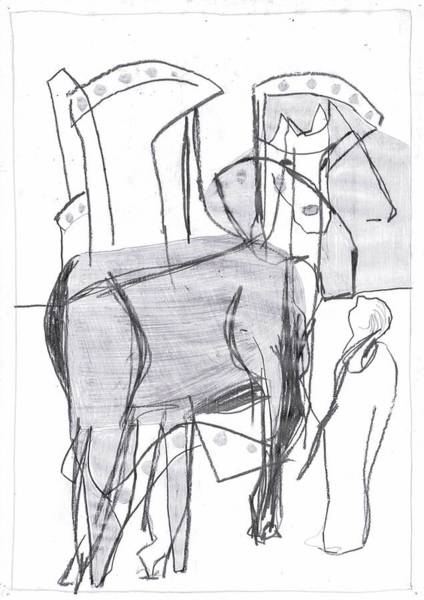 Drawing - Factory Horse by Artist Dot