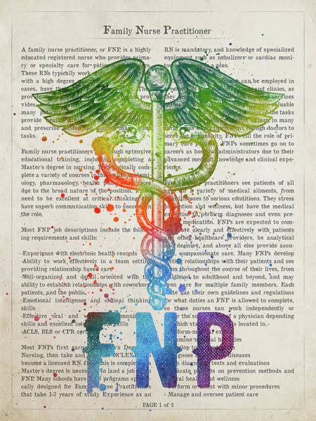 Wall Art - Digital Art - Family Nurse Practitioner Gift Idea With Caduceus Illustration 0 by Aged Pixel