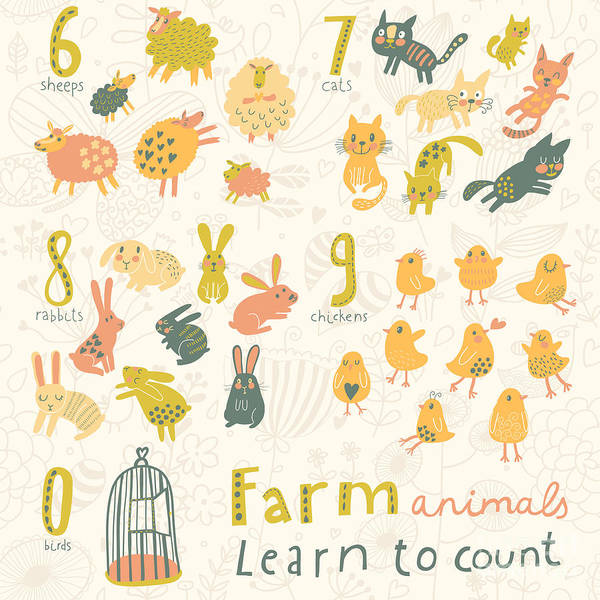 Wall Art - Digital Art - Farm Animals. Learn To Count  Part One by Smilewithjul