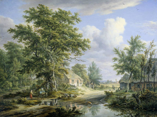 Painting - Farms At The Edge Of A Forest by Egbert van Drielst