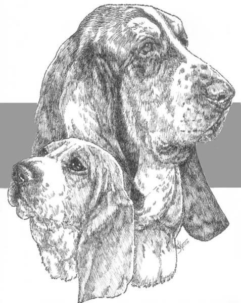 Mixed Media - Basset And Pup by Barbara Keith
