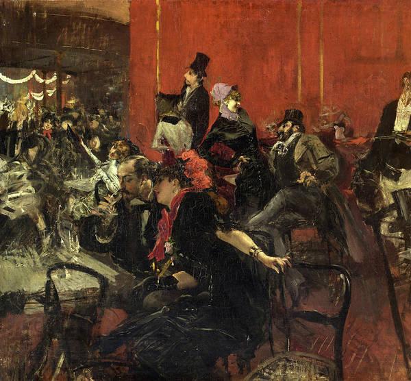 Parisian Cafe Painting - Feast Scene, 1889 by Giovanni Boldini