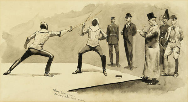 Wall Art - Painting - Fencing At Dickel's Academy by Frederic Remington