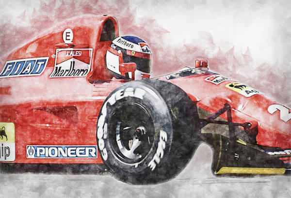 Painting - Ferrari 642 F1 - 01 by Andrea Mazzocchetti