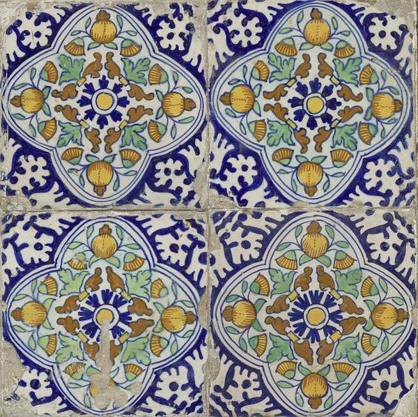 Wall Art - Painting - Field Of Four Tiles Pompadour, Anonymous, 1615 - 1635 by Celestial Images