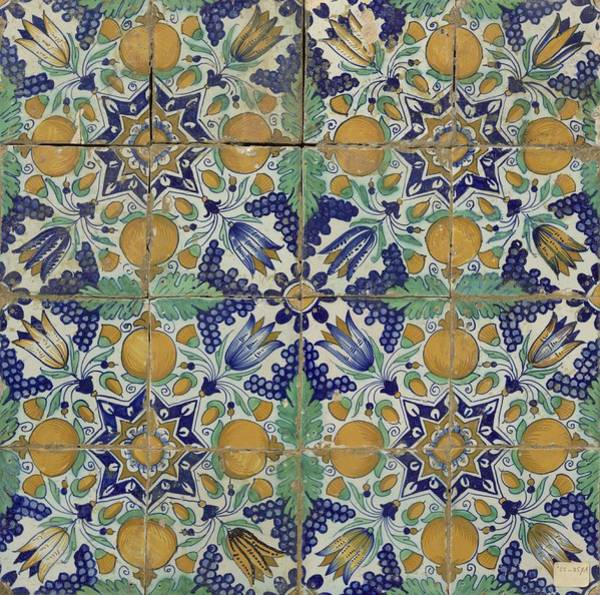 Wall Art - Painting - Field Of Sixteen Tiles Pattern Of Grapes, Pomegranates, Tulips And Stars, Anonymous, C. 1600 - C. 16 by Celestial Images