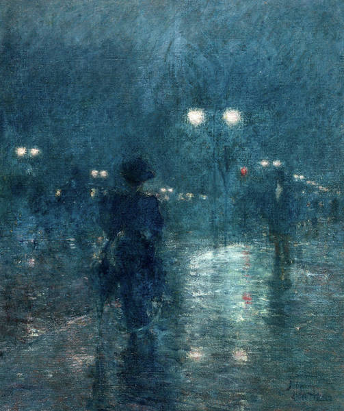 Wall Art - Painting - Fifth Avenue Nocturne, 1895 by Childe Hassam