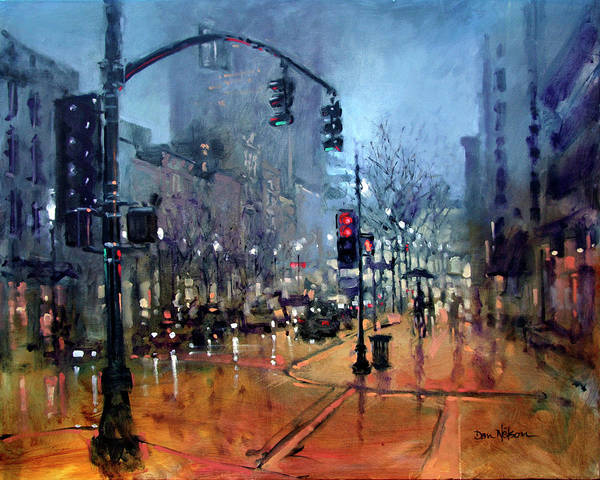 Wall Art - Painting - First Friday Mist by Dan Nelson