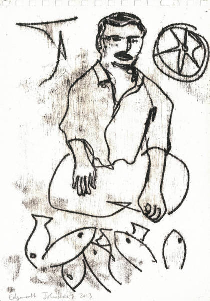 Drawing - Fish Seller by Artist Dot