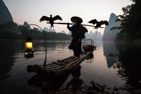 Chinese Clothing Wall Art - Photograph - Fisherman With Cormorants On Li River by Matteo Colombo