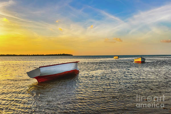 Wall Art - Photograph - Fishing Boat At Sunset Time by MotHaiBaPhoto Prints