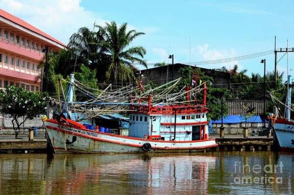 Photograph - Fishing Boats Docked At Fish Harbor Pattani Thailand by Imran Ahmed
