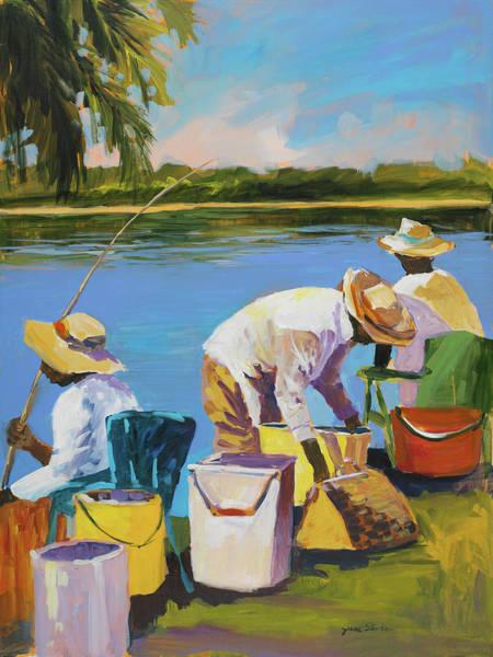 Wall Art - Painting - Fishing I by Jane Slivka