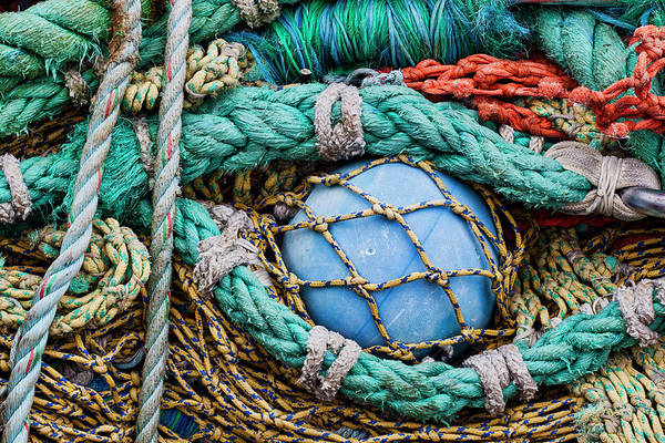 Wall Art - Photograph - Fishing Nets And Blue Float 7904 by Carol Leigh