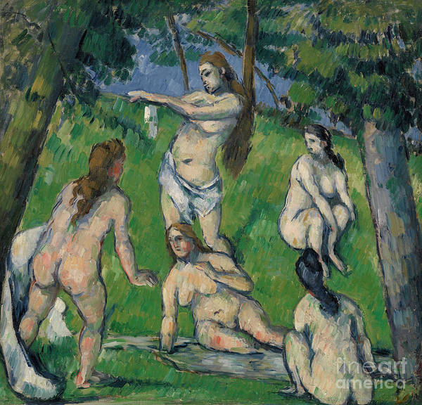 Wall Art - Painting - Five Bathers by Paul Cezanne