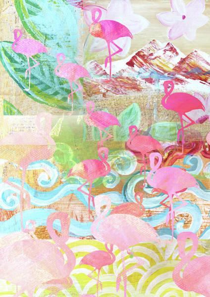 Flamingo Collage Art Print