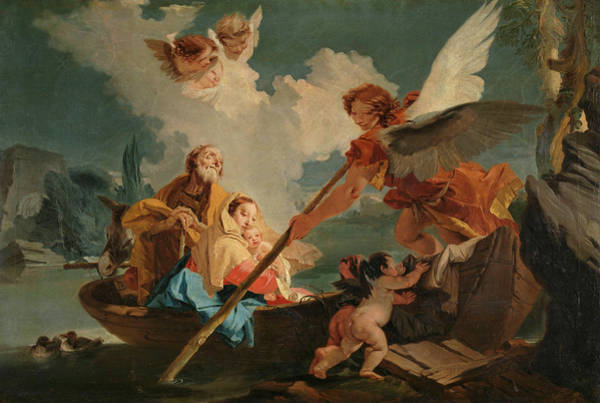 Wall Art - Painting - Flight Into Egypt by Giovanni Battista Tiepolo