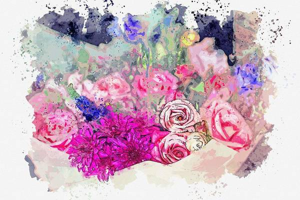 Painting - Flower Bouqett -  Watercolor By Adam Asar by Adam Asar