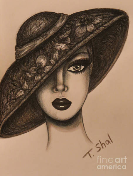 Tan Skin Drawing - Flower Hat 2 by Tara Shalton