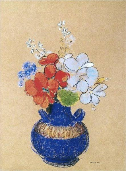 Wall Art - Painting - Flowers In A Blue Vase by Odilon Redon