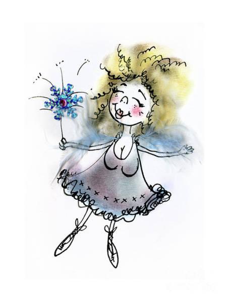 Wall Art - Drawing - Fluffy Blue Fairy by Angel Ciesniarska