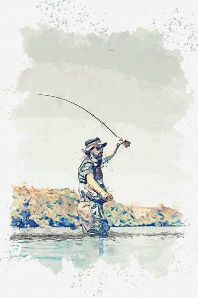 Painting - Fly Fishing -  Watercolor By Ahmet Asar by Ahmet Asar