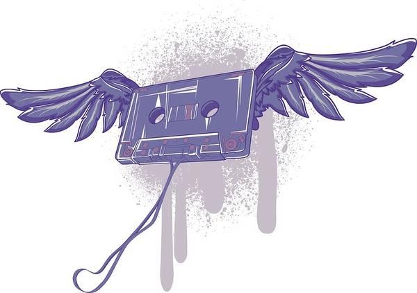Digital Art - Flying Cassette by Passion Loft