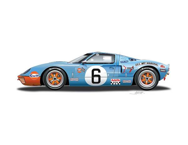 Ford Drawing - Ford Gt 40 No Background by Alain Jamar