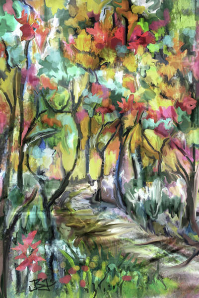 Digital Art - Forest Path by Jean Batzell Fitzgerald