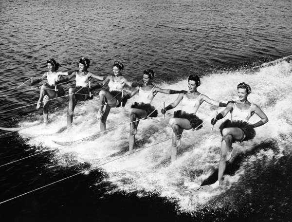 Waterskiing Photograph - Formation Skiers by Leonard G. Alsford