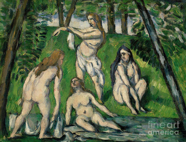 Wall Art - Painting - Four Bathers by Paul Cezanne