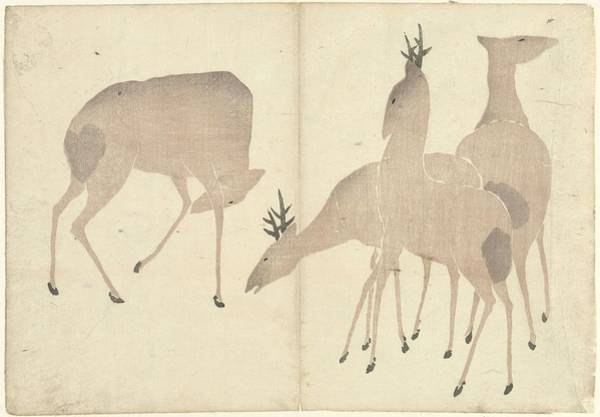 Black Buck Painting - Four Deer, Nakamura Hochu, 1826 by Nakamura Hochu