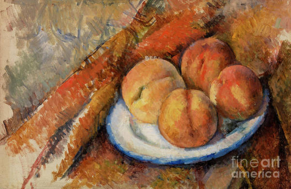 Wall Art - Painting - Four Peaches On A Plate by Paul Cezanne