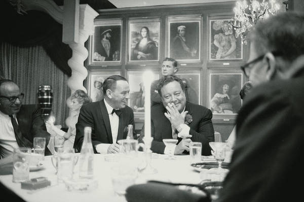 Horizontal Photograph - Frank Sinatra L Sharing A Laugh With by John Dominis