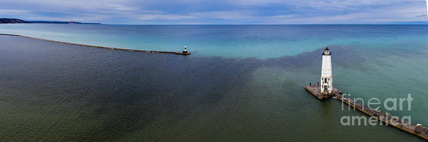Wall Art - Photograph - Frankfort Lighthouse From Sky Panorama by Twenty Two North Photography