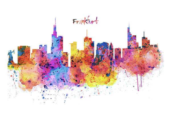 Tall Buildings Painting - Frankfurt Skyline by Marian Voicu