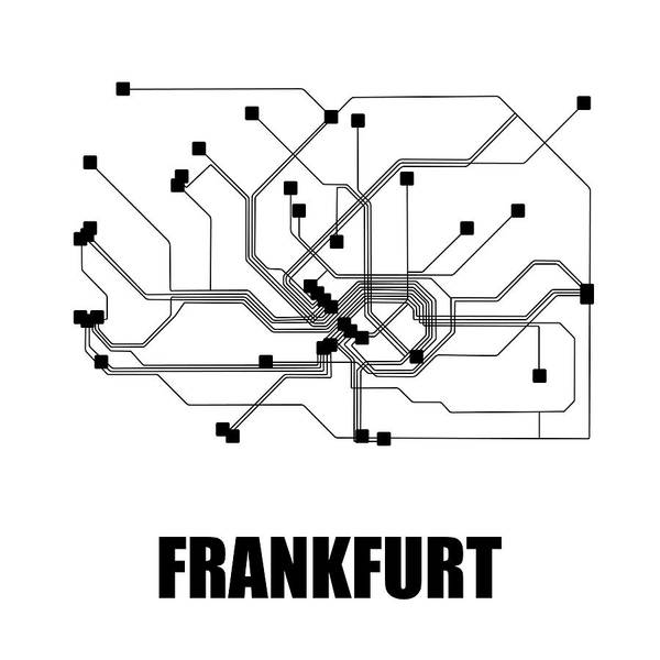 Wall Art - Digital Art - Frankfurt White Subway Map by Naxart Studio