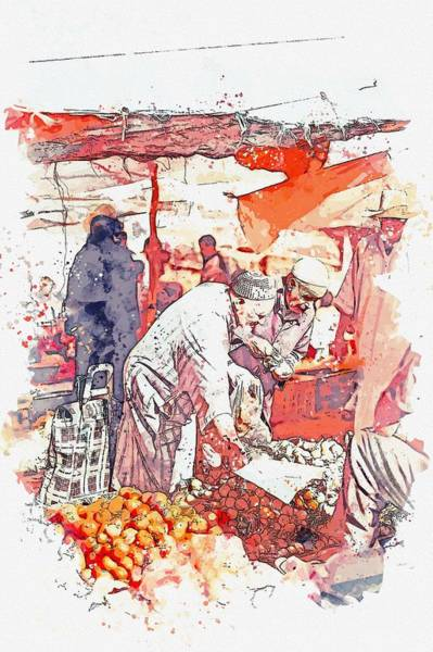 Painting - Fresh Produce Bazaar In Marrakesh, Morocco  C2019, Watercolor By Adam Asar by Adam Asar