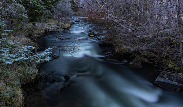 Frozen River And Winter In Forest. Long Exposure With Nd Filter Art Print