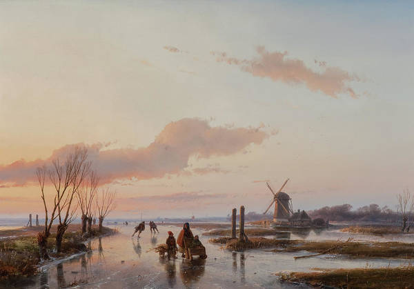 Figure Skater Painting - Frozen Waterway by Andreas Schelfhout