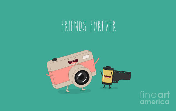 Wall Art - Digital Art - Funny Camera And Camera Roll. Vector by Serbinka