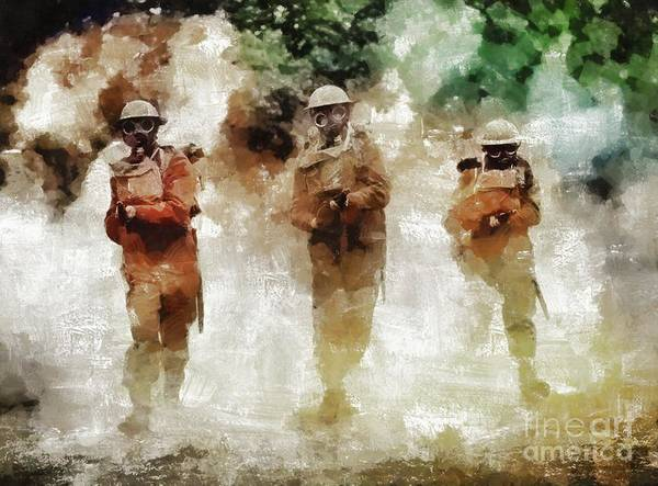 Wall Art - Painting - Gas Attack, World War Two by Mary Bassett