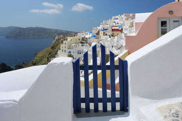 Village Gate Photograph - Gateway And Ocean, Oia, Santorini by Martin Ruegner