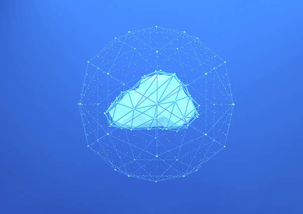 Wall Art - Photograph - Geometric Cloud Connected To Network by Ikon Images