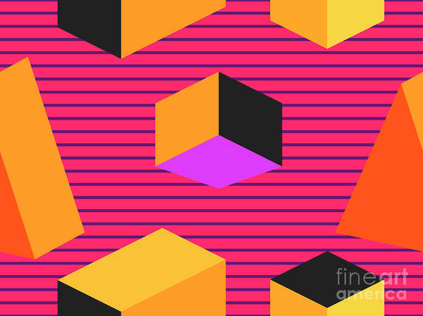 Digital Art - Geometric Shapes In Isometric Style by Andrii Vinnikov