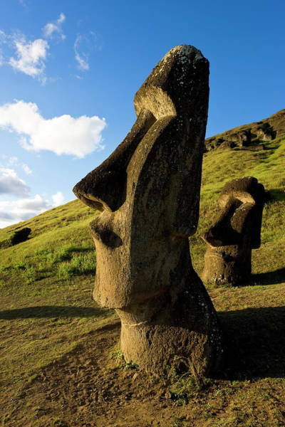 Sunny Side Up Wall Art - Photograph - Giant Monolithic Stone Moai Statues At by Gavin Hellier / Robertharding