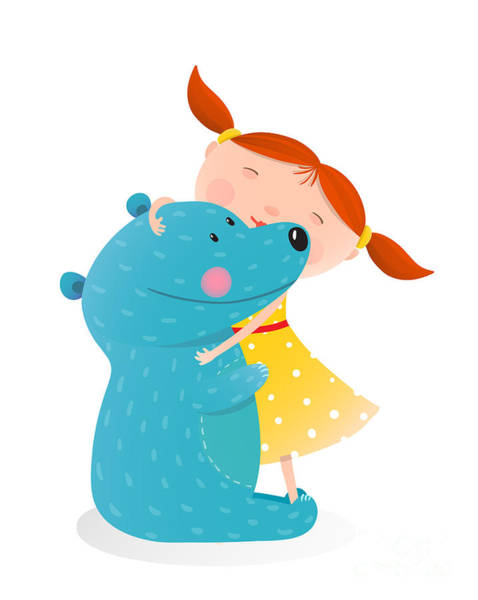 Wall Art - Digital Art - Girl Hugging Toy Cute Bear. Little Girl by Popmarleo