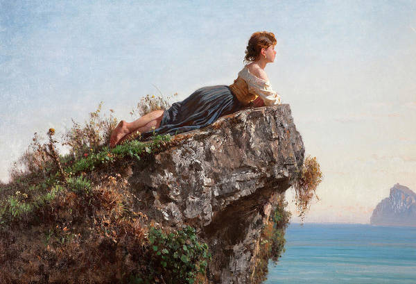 Wall Art - Painting - Girl On The Rock In Sorrento by Filippo Palizzi